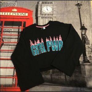 NWT H&M Girl Power Black Crop Bell Sleeve Top